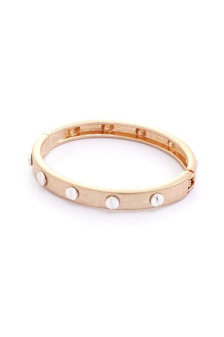 Metal Round Studded Open Bangle Bracelet