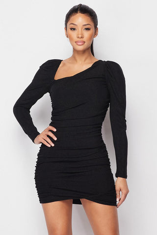 Asymmetrical Neckline Puff Sleeve Mini Dress