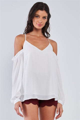 White Ruffle Hem Cold Shoulder Top