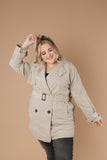 Faux Suede Short Trench Coat