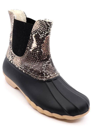 Taupe Snakeskin Duck Bootie