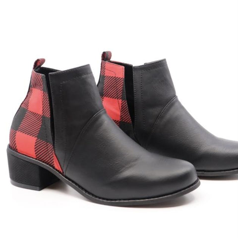 Buffalo Plaid Ankle Booties
