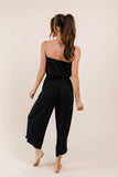 Cropped Tube Top Jumpsuit In Black