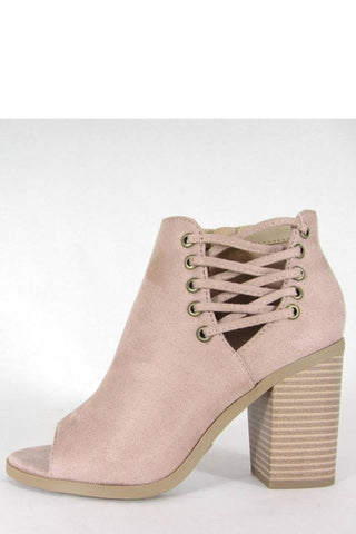 Side Lace Up Open Toe Bootie in Mauve