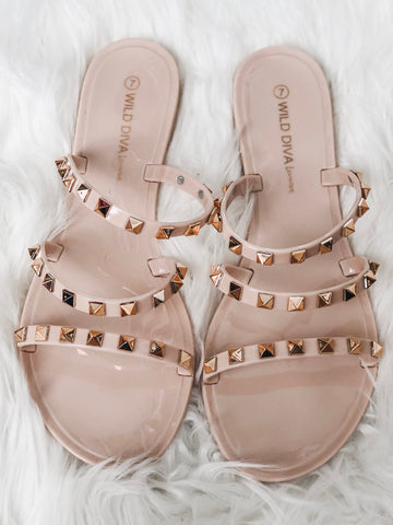 Studded Strap Sandals - Nude