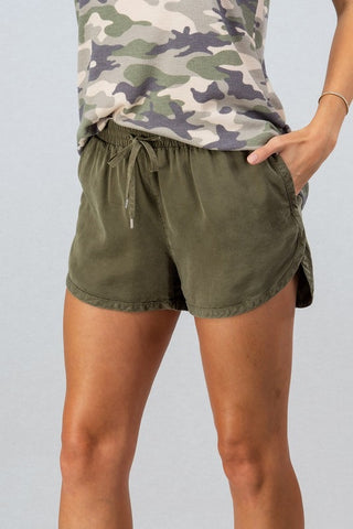 Olive Tencel Draw String Shorts