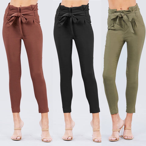 High Waisted Belted Stretch Pant