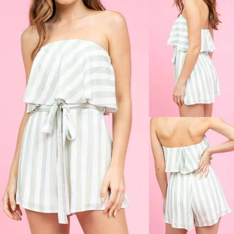 Striped Strapless Romper in Sage