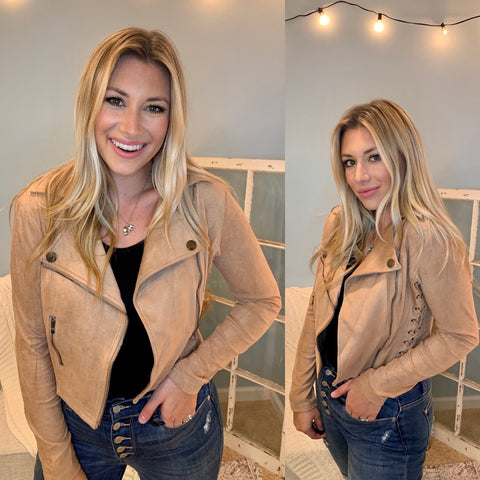 Faux Suede Moto Side Lace Jacket