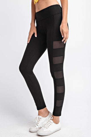 Black Mesh Panel Active Leggings