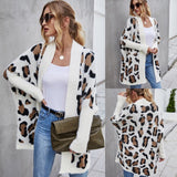 White Leopard Open Cardigan
