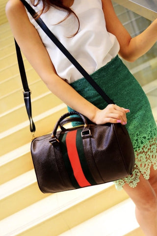 Designer Inspired Red Green Striped Crossbody