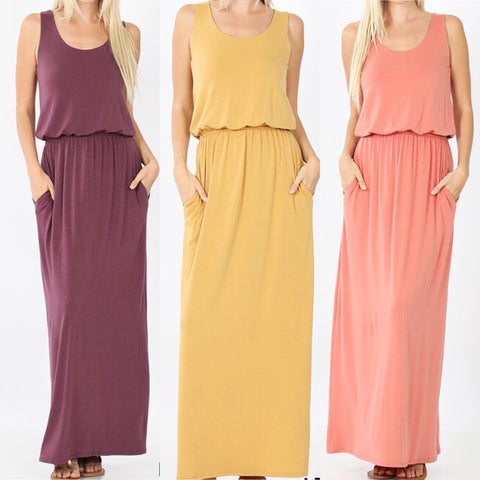 Sleeveless Maxi Dress (Mustard/Rose/Eggplant)