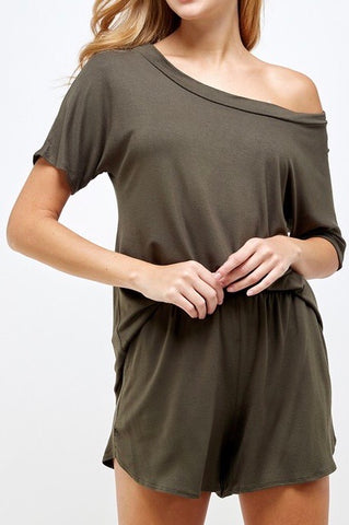 Off Shoulder Lounge Set in Olive