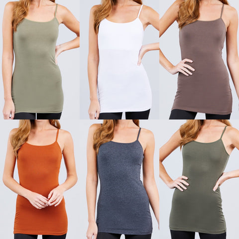 Adjustable Spaghetti Strap Tunic Cami