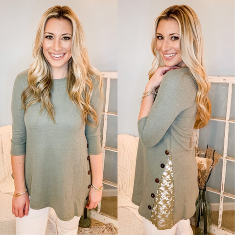 Buttons & Lace Olive Tunic