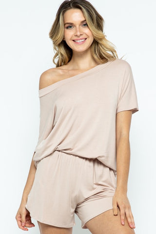 Off Shoulder Lounge Set in Taupe