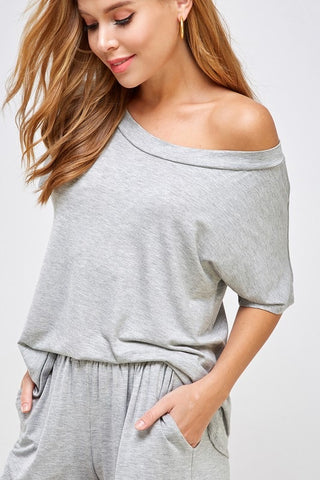 Off Shoulder Lounge Set in Heather Grey