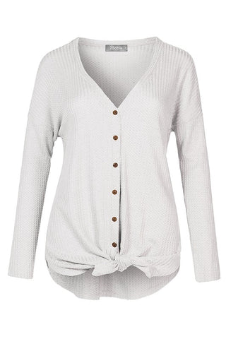 Waffle Knit Button Up Top in Ivory
