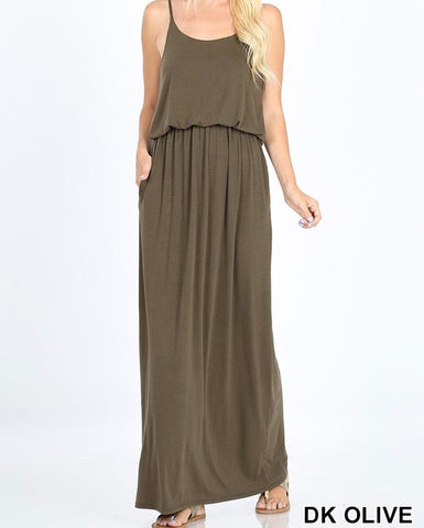 Adjustable Strap Cami Maxi Dress in Olive