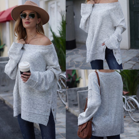 Soft Grey Side Button Sweater