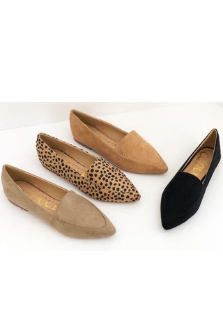 Ariel Pointed Toe Loafer (Black/Taupe/Cheetah)