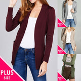 Plus Open Sweater Pocket Cardigan