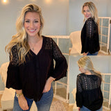 Gracie Lacey Shoulder Top In Black