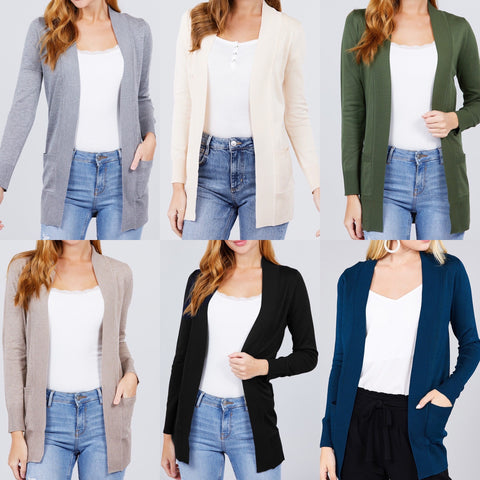 Open Sweater Pocket Cardigan