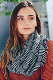 Black Checked Frayed Infinity Scarf