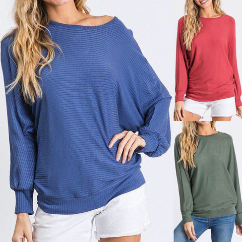 Dolman Long Sleeve Ribbed Top