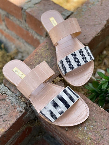 Black Stripe Double Strap Sandals