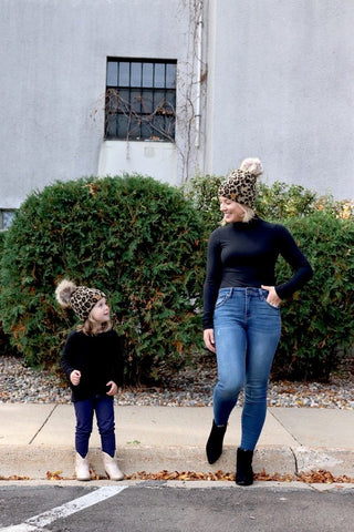 Mommy & Me Leopard Pom Beanies