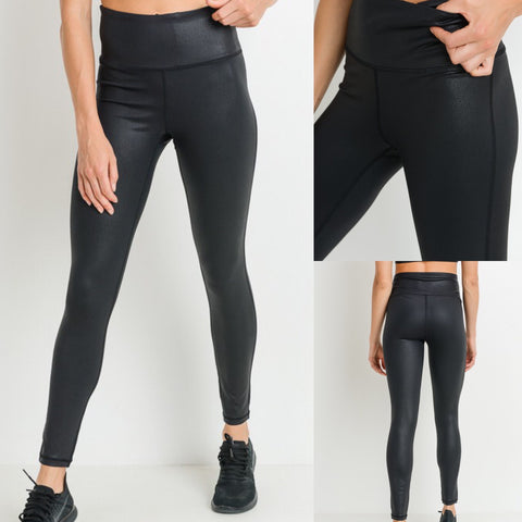 Black Scale Pleather Leggings