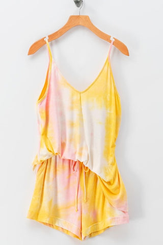 Tie Dye Cami Short Set in Yellow/Pink