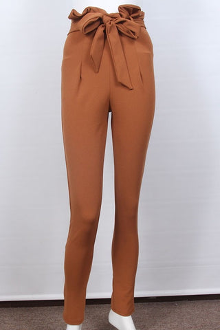 High Waist Paper Bag Pants in Cognac