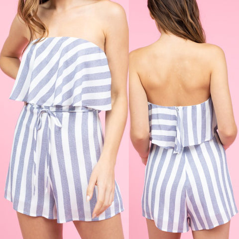 Striped Strapless Romper in Navy