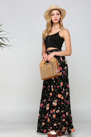 Floral Woven Maxi Skirt