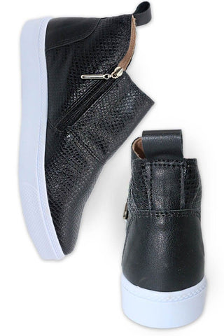 Side Zip Black Croc Sneaker Bootie