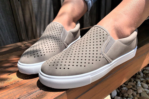 Taupe Perforated Slip On Sneaker