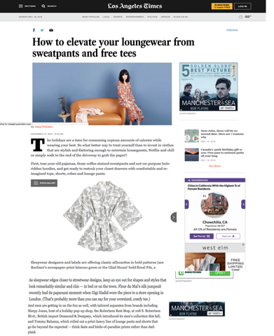 The LA Times is all over our Kimono in Newspaper print