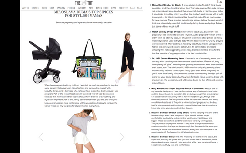 """Top picks for stylish mamas everywhere"" - The Tot"