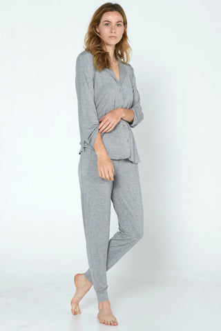 Long Sleeve PJ Set - Brushed Grey