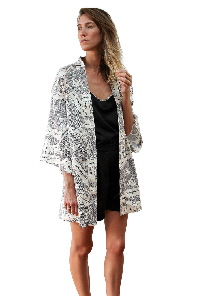 Satin Kimono Gown in Newspaper print – RECLINER
