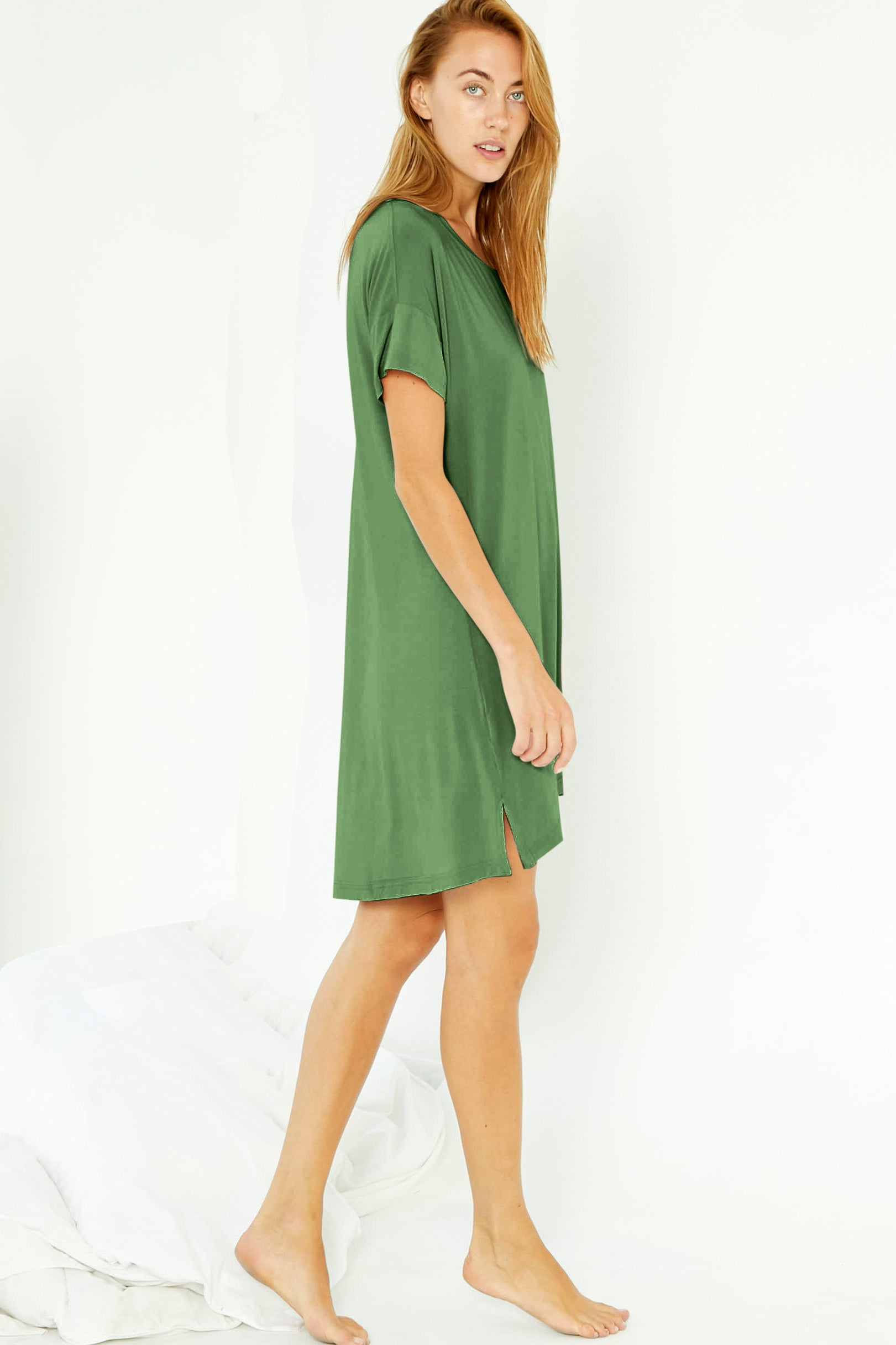 Night-Tee Sleep Dress - Kale