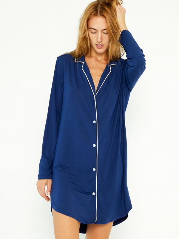 PJ Shirt Dress - Navy Blue