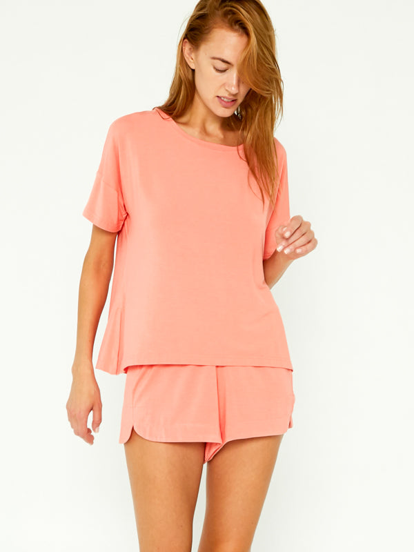 Sleep Tee Set - Neon Coral