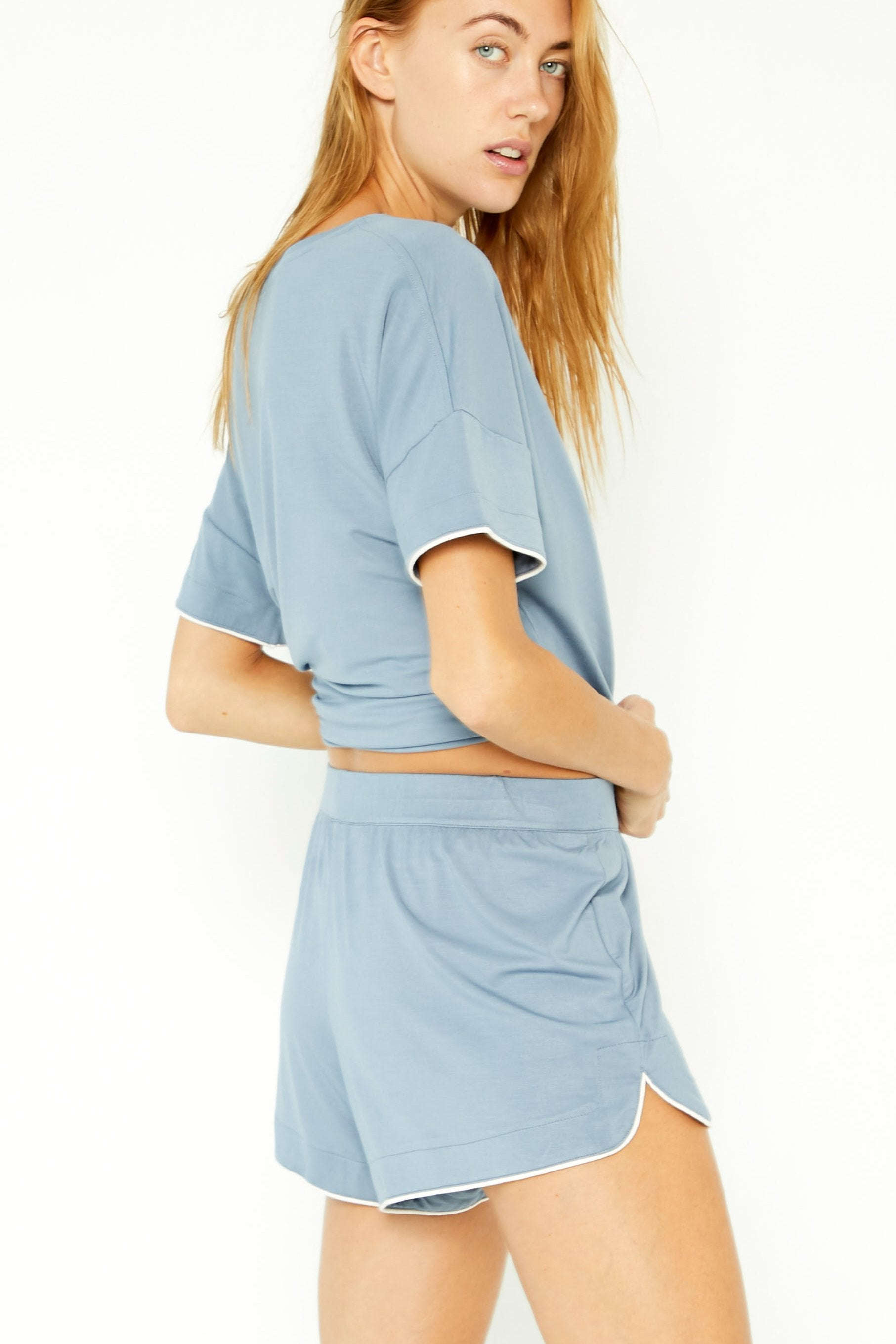 Super-stretch Sleep Short - Cool Blue with Creamer Piping