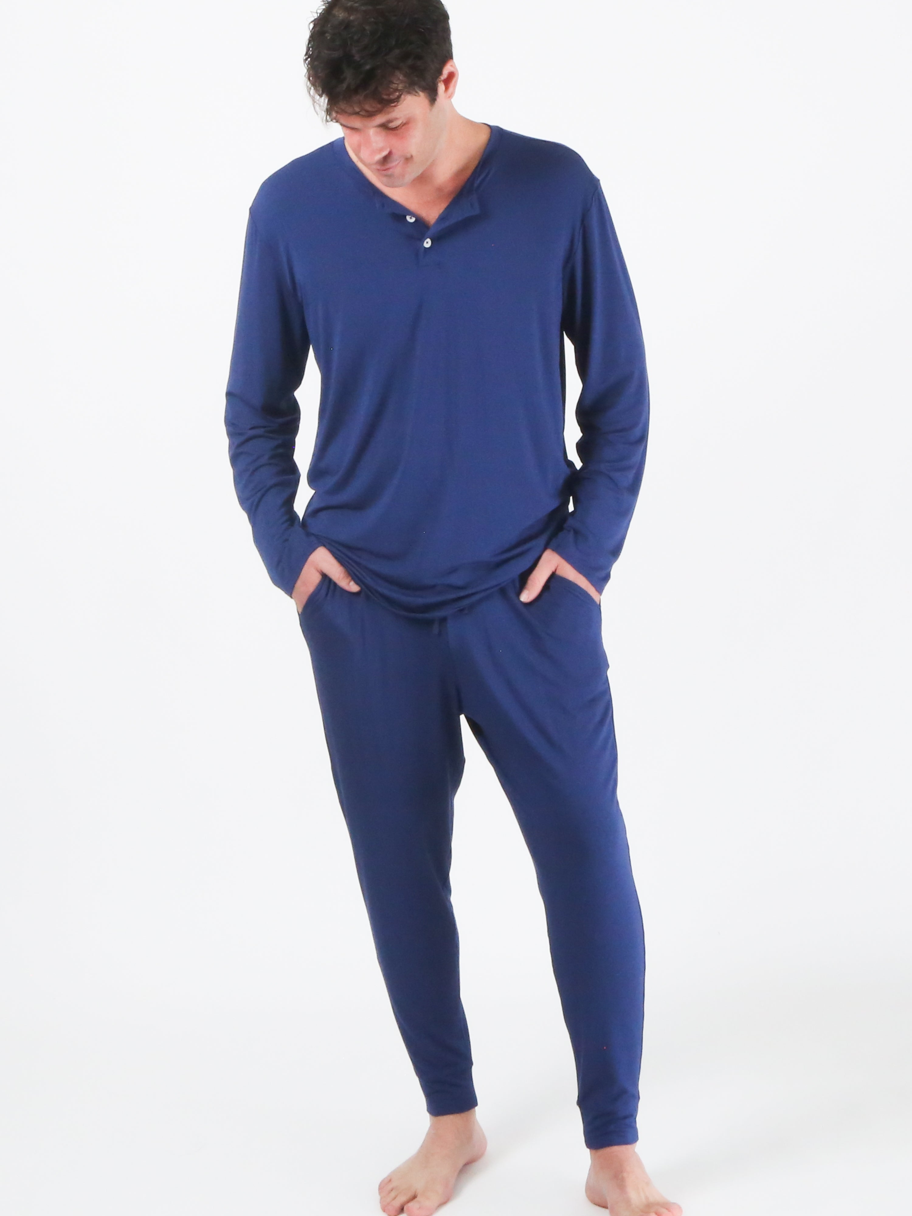 Henley Pajamas - Navy Blue