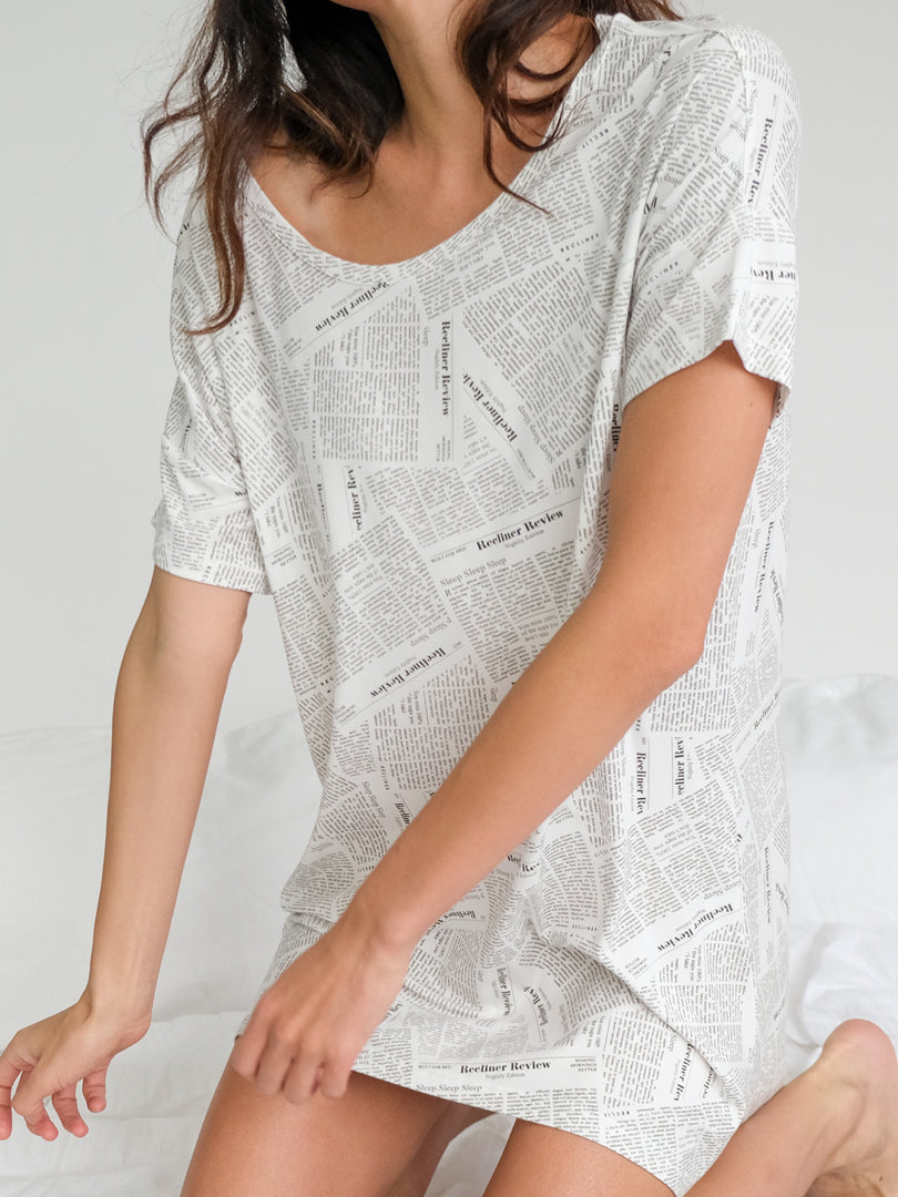 Night-Tee Sleep Dress - Newsprint